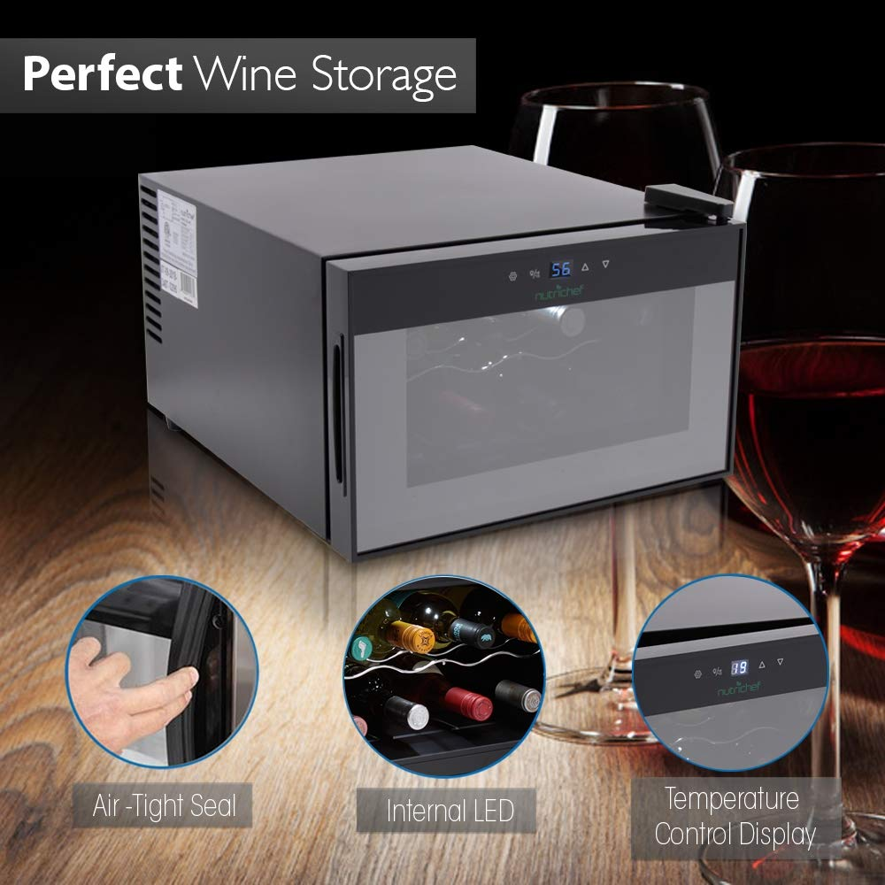 NutriChef PKTEWC806 8 Bottle Thermoelectric Red And White Wine Cooler/Chiller, Counter Top Wine Cellar with Digital Control, Freestanding Refrigerator, Smoked Glass Door, Quiet Operation Fridge, Black by NutriChef (Image #5)