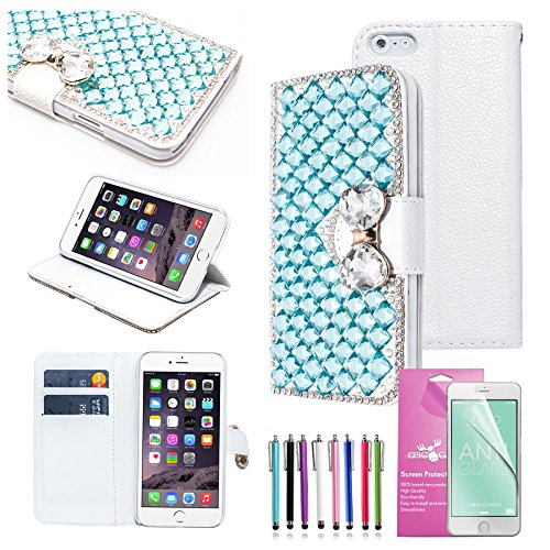 EpicGadget(TM) Luxury Handmade 3D Bling Silver Square Diamante with Crystal Bow Knot Leather Wallet Case Cover For Apple iPhone 6 Plus [5.5] with Built-in Stand And Credit Card Slots + iPhone 6 Plus 5.5 Screen Protector And 1 x Random Color Stylus (US Seller!!) ()