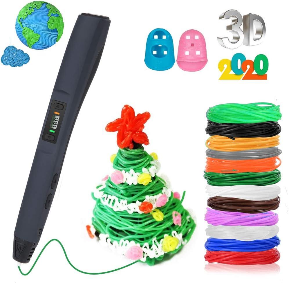 Pluma de impresión 3D, Rilitor Pluma 3D con 12 Colores PLA Filamento, Temperatura Controlable y 8 Velocidades Ajustables, con Pantalla LCD, Juguetes Regalos para Adulto/Niños