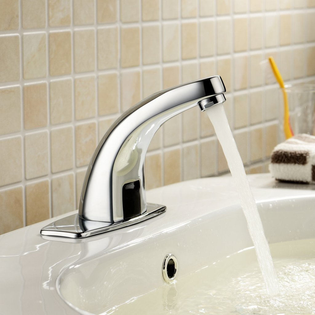 Toyofmine Lavatory Bathroom Chrome Bathroom Sink Faucet with Automatic Sensor (Hot and Cold)