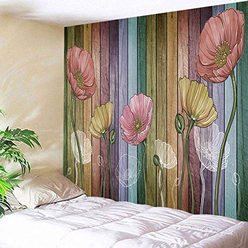 DEQI Retro Wood Plank Flower Wall Tapestry Colorful Tapestry Wall Hanging for Livingroom Bedroom Dorm Home Decor W78