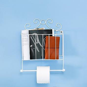 magazine rack creative jardin fer journal de fixation murale de salle de bain porte rouleau pour