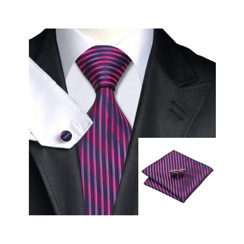 Mens Jacquard Woven Silk Purple Black Striped Tie Hanky Cufflinks Sets