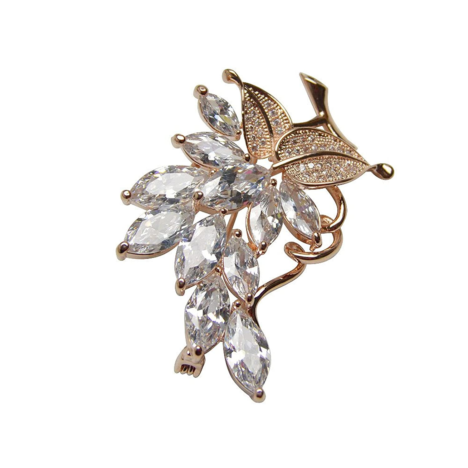 AAA Cubic Zirconia Leaf Brooches Real Gold Plated Hot Sale