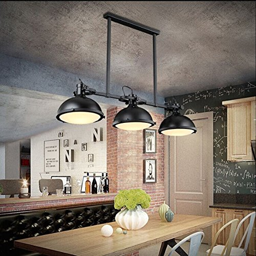 JINGUO Lighting Industrial 3 Lights Pendant Light Chandelier Billiard/Pool Table Island Light Edison Ceiling Light Hanging Lamp in Vintage Style Black Finish