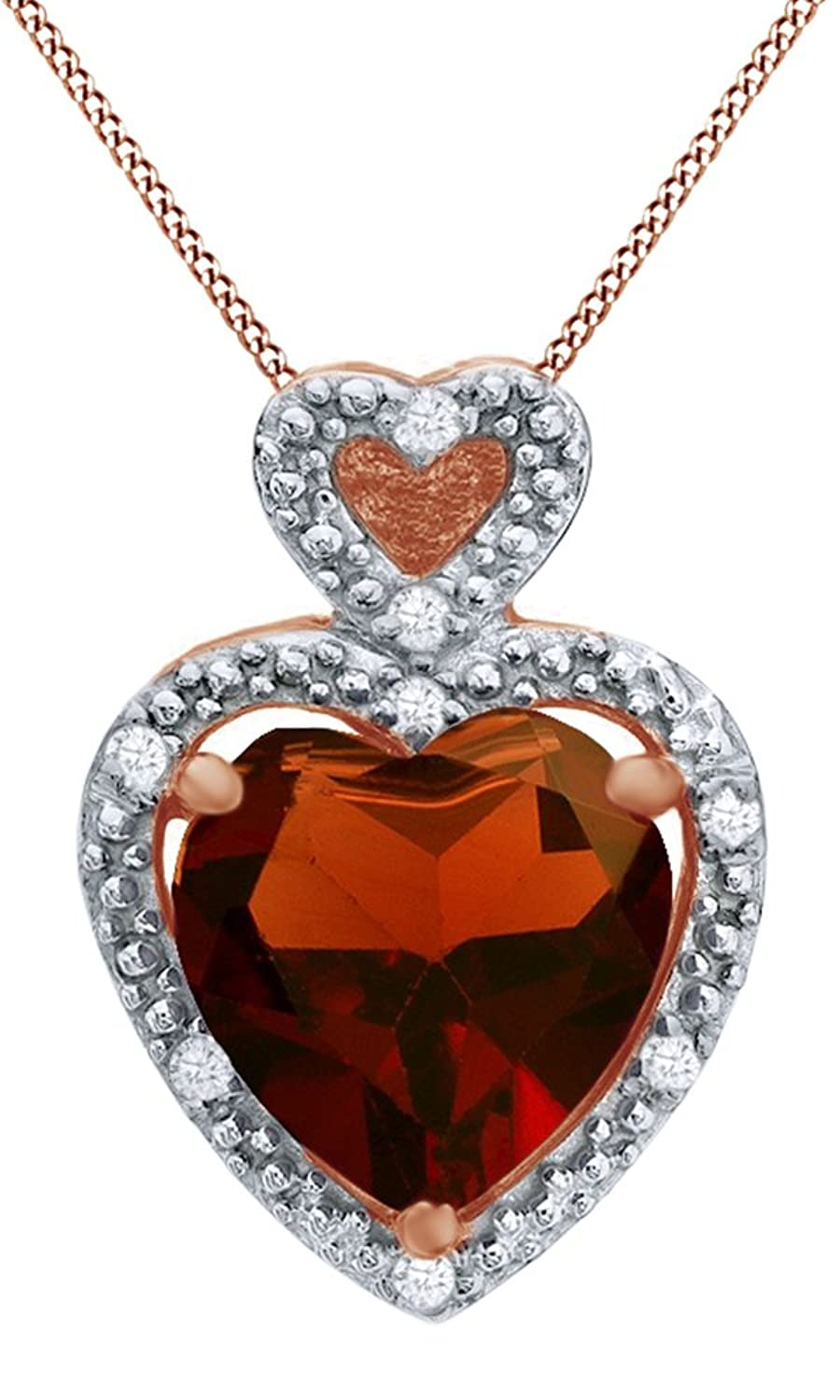 Heart Shaped Simulated Garnet & White Natural Diamond Accent Heart Frame Pendant in 10K Solid Gold
