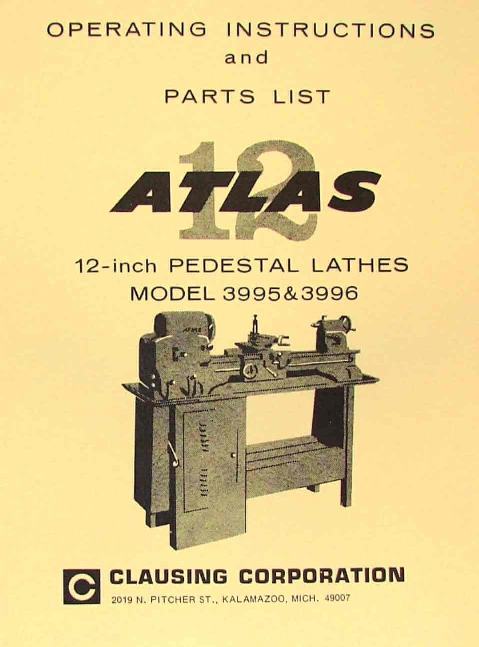 "ATLAS-CRAFTSMAN 12"" Pedestal Metal Lathe 3995 & 3996 Instructions & Parts  Manual: Misc.: Amazon.com: Books"