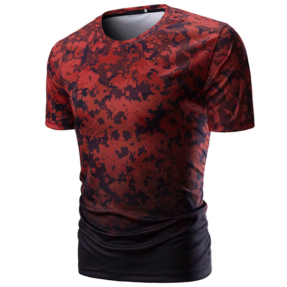 Yutao Mens Casual Camouflage Print O Neck Pullover Short T-Shirt Top Blouse