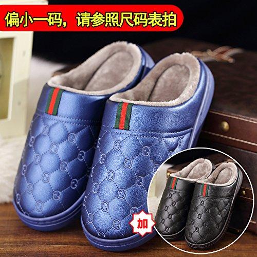 Fankou PU pelucchi pantofole uomini inverno spessore impermeabile felpato antiscivolo scarpe home, 2 coppie di 42-43, blu + nero