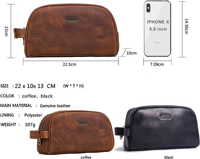 contacts Crazy Horse Cuir de vache Fermeture /Éclair de toilette kit de voyage Trousse de toilette marron marron taille unique