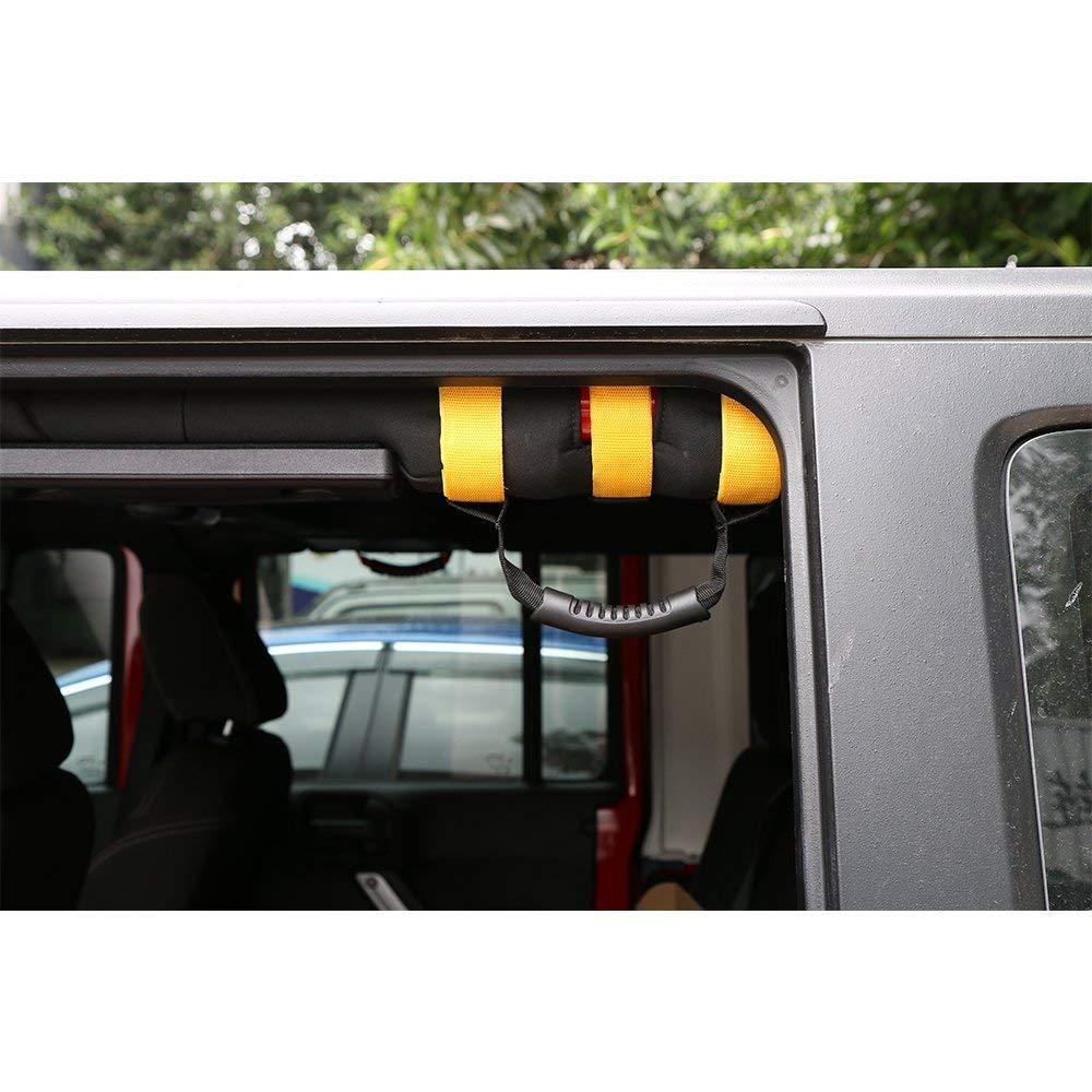 JeCar 4 x Heavy Duty Roll Bar Grab Handles for Jeep Wrangler 1955-2018 JK JL CJ YJ TJ Unlimited Red