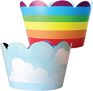 Rainbow Cupcake Wrappers - 36 Reversible | Unicorn Party Supplies, Cloud Cup Cake Liner Wraps, Airplane Birthday Favor Bag Holders, Wizard of Oz Theme Baby Shower Decor, Hot Air Balloon Decorations
