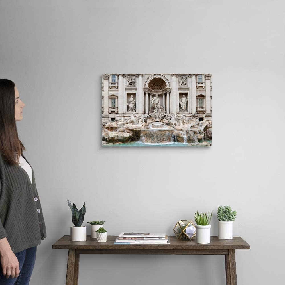 Travel Home Decor Rome Fountain Drawing Italy Wall Art ROME CANVAS PRINT Trevi Fountain Picture Stretched Giclee Canvas Watercolor Rome