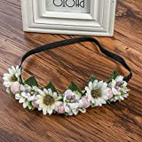 New Sunflower Flowers Crown for Wome Hair Bands Spring Fashion Wreath Wedding Party Bridal Hair Accessories Floral Headband White