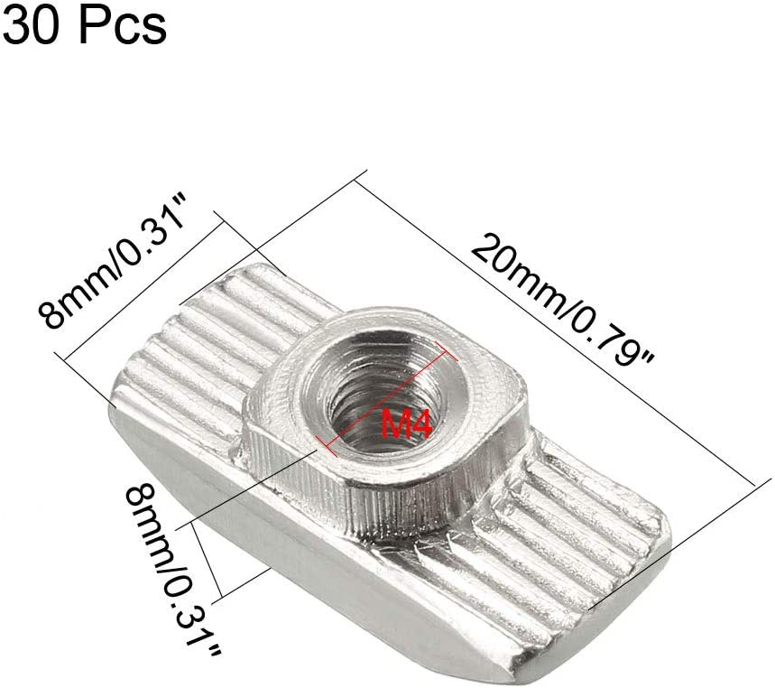 sourcing map 50Stk T-Muttern f/ür 2020 Serie stranggepresstem Aluminium Profil M5-Gewinde