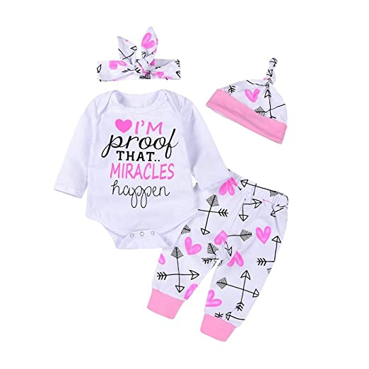 17664532c9a6 Amazon.com  Vicbovo Clearance 4Pcs Infant Baby Girls Arrow Heart Outfit  Romper Bodysuit+Pants+Hats+Headband Clothes Set  Clothing