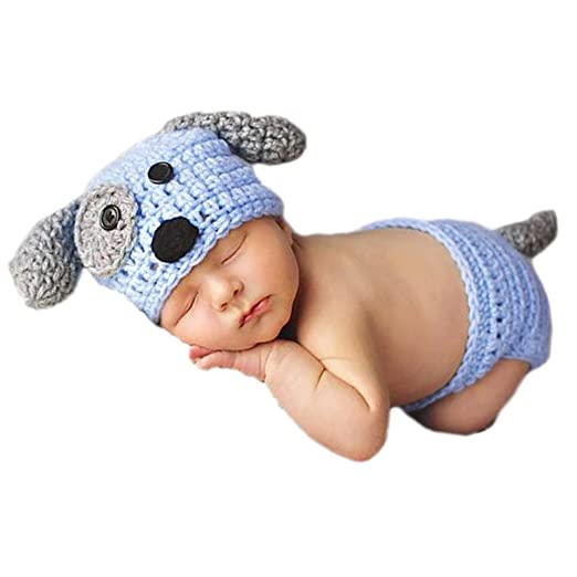 d9d7405bc289 Amazon.com: Vemonllas Fashion Cute Newborn Boys Girls Baby Photo Props  Handmade Knitted Outfits Puppy Hat Pants Blue: Clothing