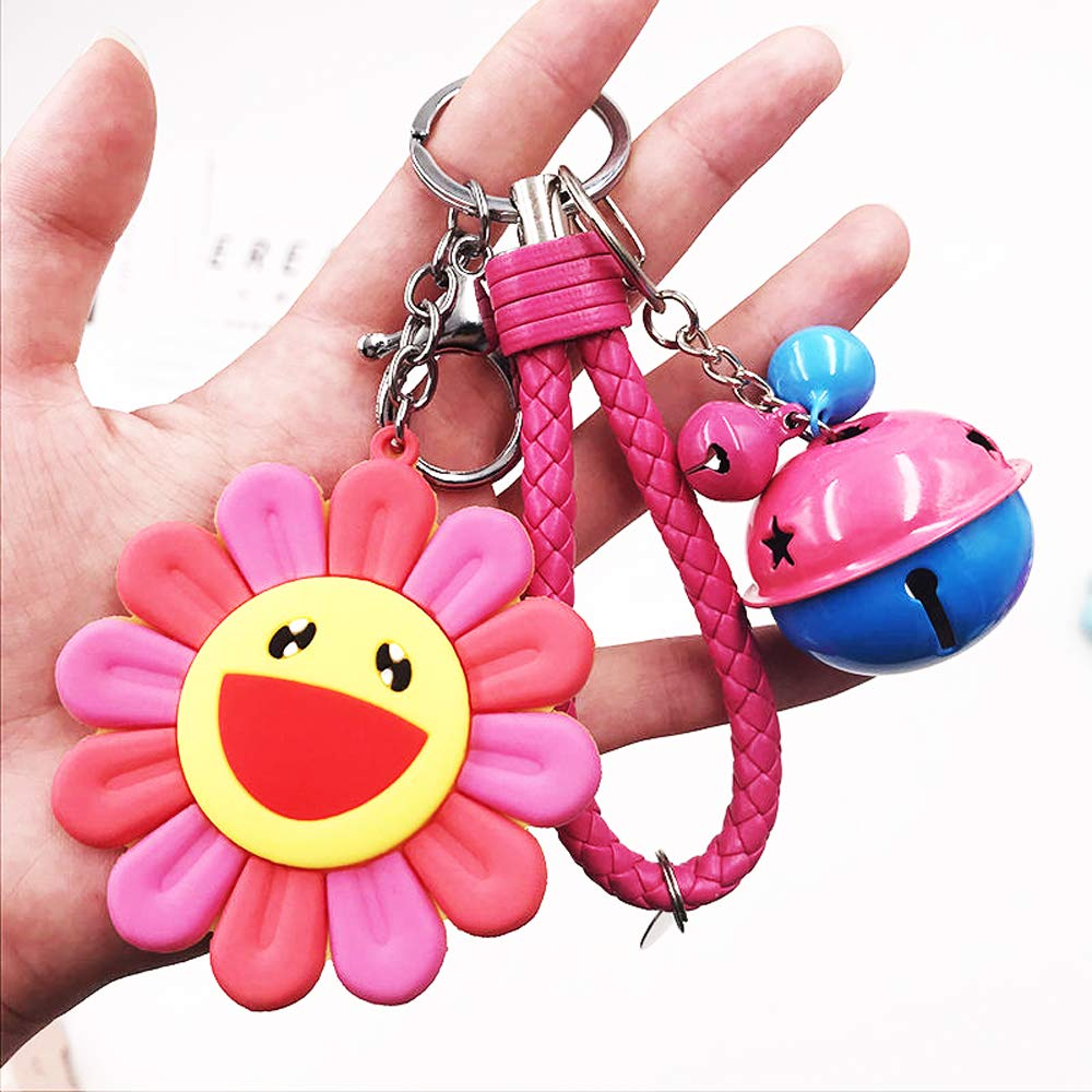 Sunflower Hanging Decorations, Key Ring Link, Backpack Ornament, Colorful Sun Decoration, Decoration Flowers, DIY School Bag Hanging (Rose Red Sun+Rope+Bell)