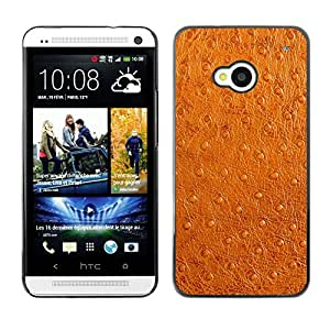 QCASE / HTC One M7 / imitación de piel sintética de color marrón arte tela de la piel / Delgado Negro Plástico caso cubierta Shell Armor Funda Case Cover