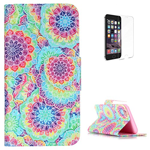 """iPhone 6 Plus/6S Plus 5.5"""" Flip Leather Wallet Case KaseHom [Free Screen Protector] Colorful Kaleidoscope Design Magnetic with [Function Card Slots][Kickstand] Slim Durable Bumper Cover"""
