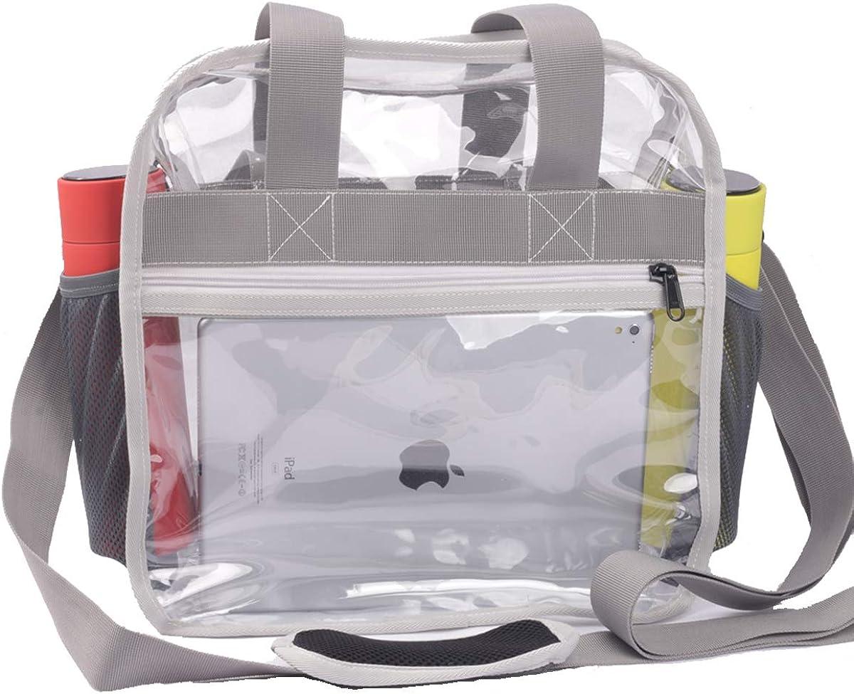 Heavy-Duty Clear Stadium bags 12x12x6 W Extra 4 Pockets & Long Strap