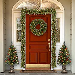 National Tree 9 Foot by 10 Inch Crestwood Spruce Garland with 50 Warm White Battery Operated LED Lights (CW7-306-9A-B1)
