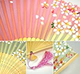 "PANDA SUPERSTORE Nice Gift Holding Painted Fan Flower Pattern Beautiful Hand Fan 8.27""(21cm)"