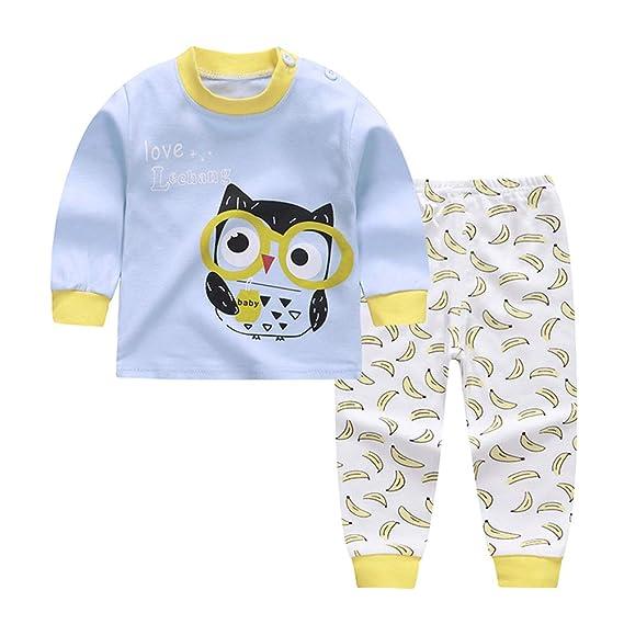 Conjunto de Pijamas de algodón para niña bebé Conjunto de Manga Larga y pantalón de Dibujos