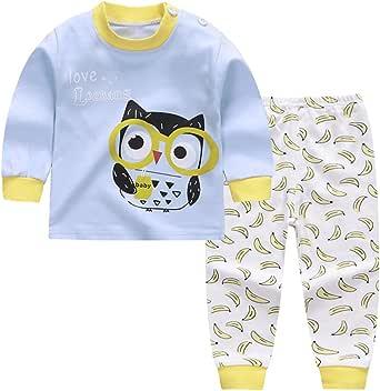Conjunto de Pijamas de algodón para niña bebé Conjunto de Manga Larga y pantalón de Dibujos Animados Niño pequeño Ropa de Dormir/Camisones Ropa para niños de 0 a 4 años: Amazon.es: Ropa