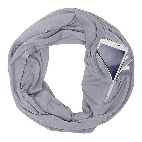 Unisex Men Women Infinity Scarf Pocket Loop Hidden Zipper Pocket Scarves 108