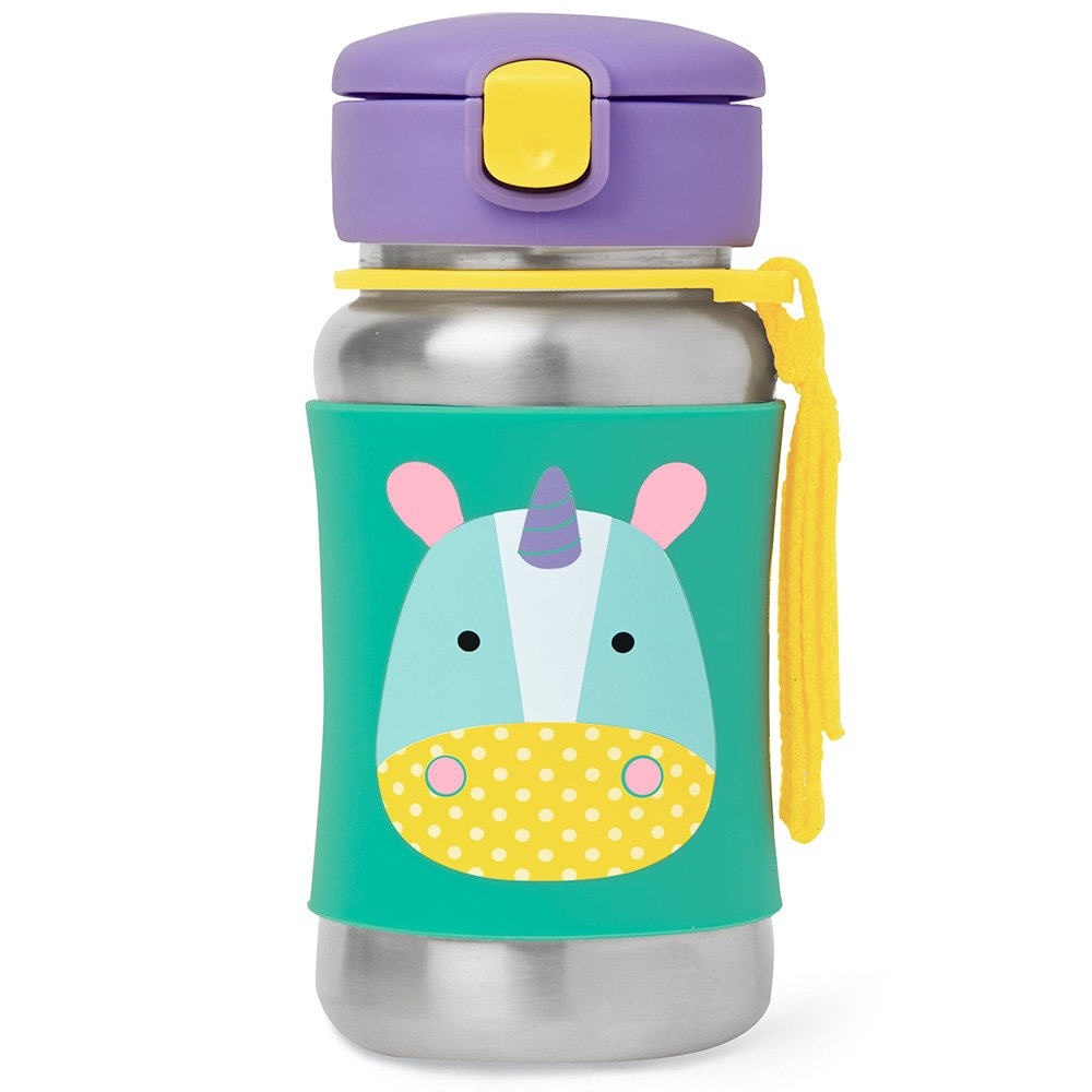 Skip Hop Baby Zoo Little Kid and Toddler Feeding Travel-To-Go Insulated Stainless Steel Straw Bottle, 12 oz, Multi Eureka Unicorn