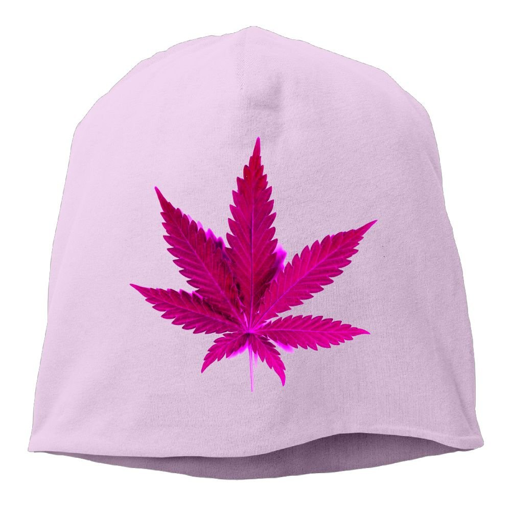 Fashion Solid Color Weed Leaf Art Pink Head Cap for Unisex Black One Size
