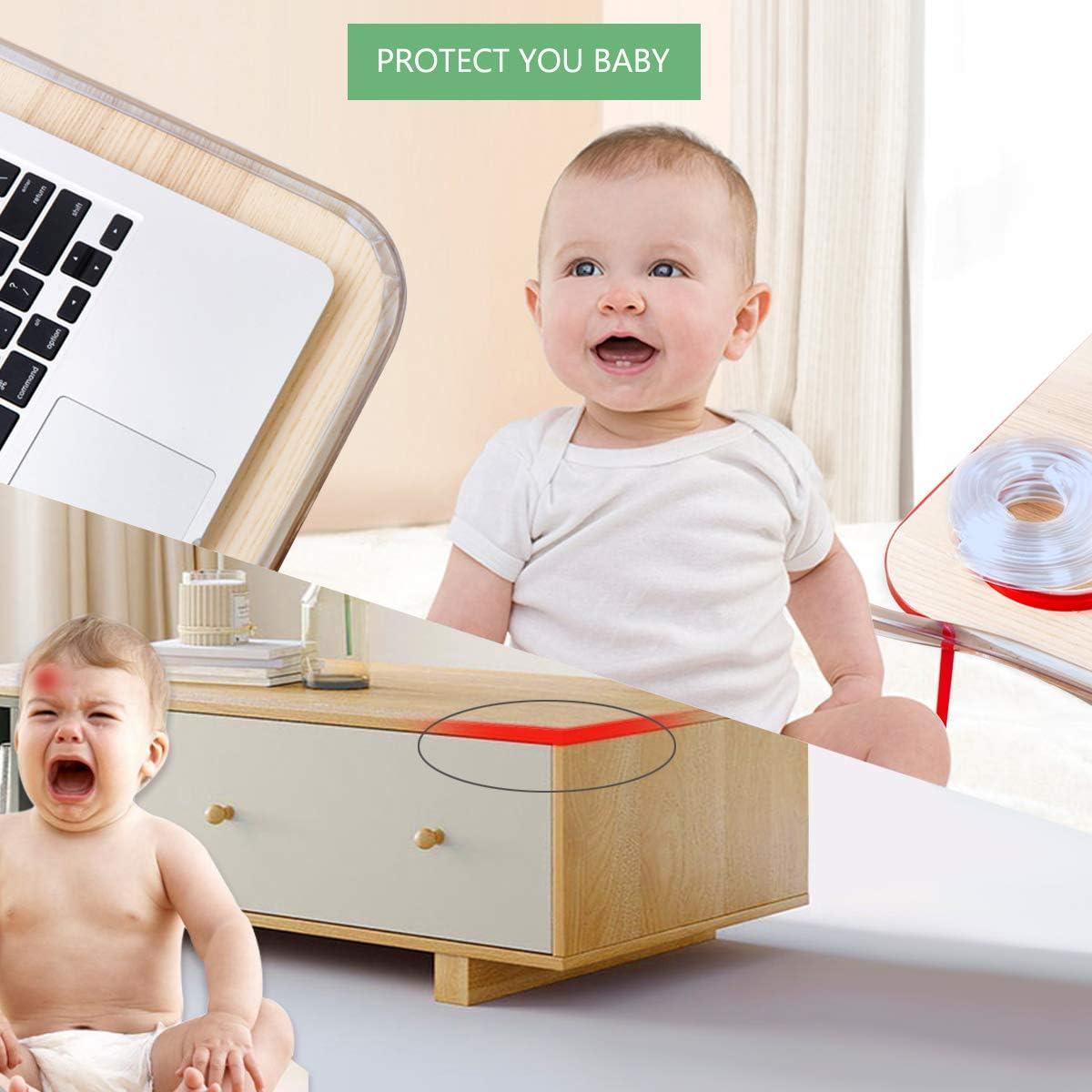 15 mm de grosor ensanchado Protecci/ón transparente de bordes para ni/ños beb/és 2 piezas Protecciones para bordes y esquinas,Protecciones de esquina de seguridad de 4 metros ni/ños