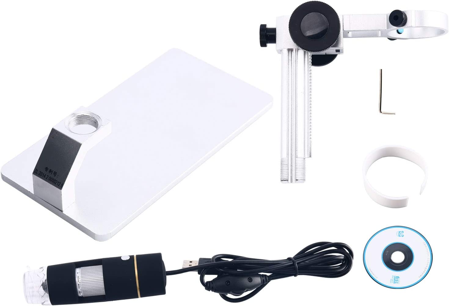 USB Digital Microscope 8 LED 1X-500X Real 2MP Continuous Zooming Endoscope Magnifier Video Camera with Lifting Holder
