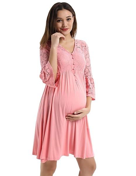 b2668aef4802 Abiti in Pizzo Donna Taglie Vestito per Cerimonia Donna Incinta Estivi S  Rosa