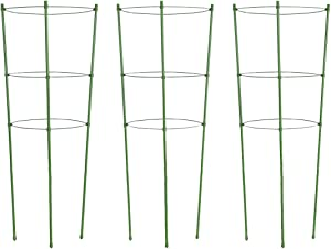 Tingyuan Plant Support Cages 18 Inches Plant Cages with 3 Adjustable Rings, Pack of 3