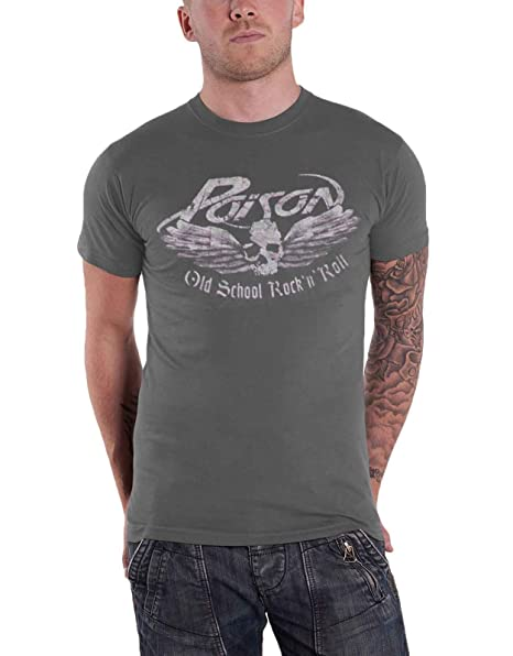 Amazoncom Poison T Shirt Old School Band Logo Official Mens Grey