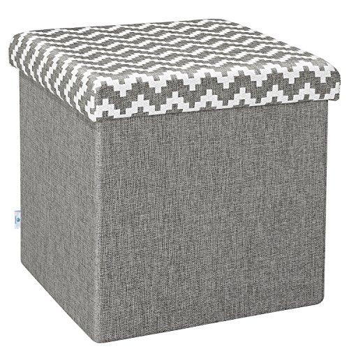 B FSOBEIIALEO Folding Storage Ottoman Linen Footstool Toy Chest Coffee Table Room Organizer 15