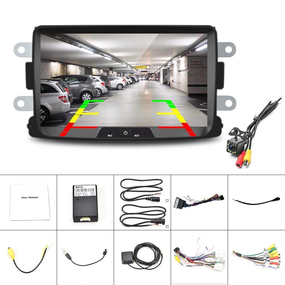 Radio de Coche Android para Renault Dacia GPS CAMECHO Pantalla T/áctil Capacitiva de 8 Pulgadas Reproductor Est/éreo de Coche WiFi Bluetooth FM USB Dual para Sandero Duster Logan Dokker