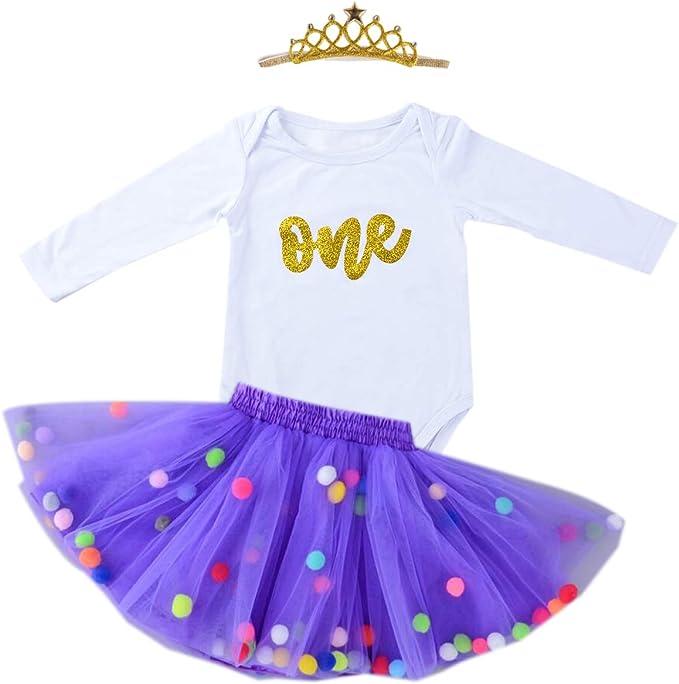 Amazon.com: Disfraz de 1 cumpleaños para bebé con purpurina ...