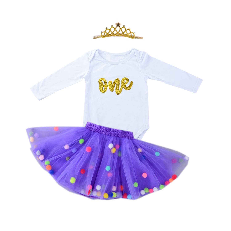 Baby Girls 1st Birthday Outfit Glitter One Romper Balls Skirt Crown Headband