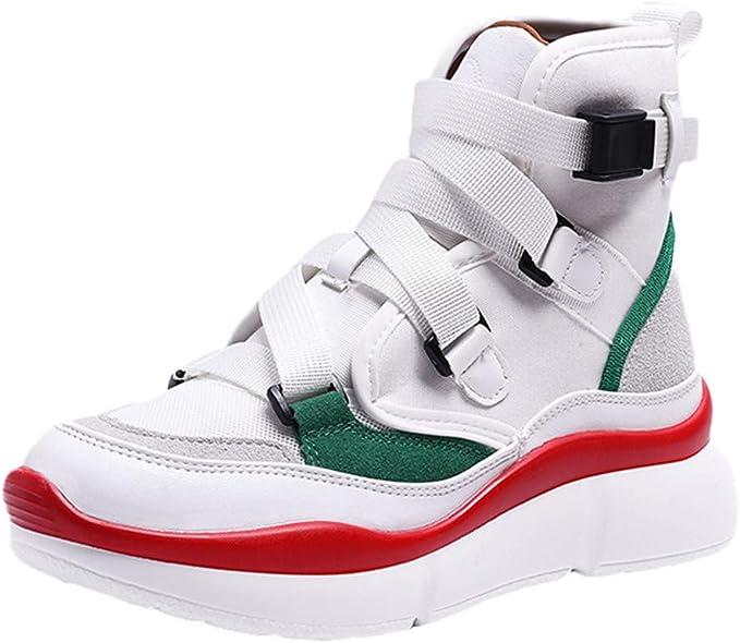 Qingsiy Zapatillas Deportivas de Mujer Gimnasio Fitness Correr Ligero Comodos Respirable Zapatos Deportivos de Plataforma de Ocio Retro para Mujer con Correa de Hebilla de Fondo Grueso: Amazon.es: Ropa y accesorios