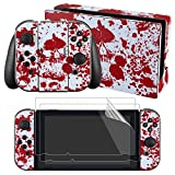 eXtremeRate Full Set Faceplate Skin Decal Stickers for Nintendo Switch with 2Pcs Screen Protector (Console & Joy-con & Dock & Grip) -Blood Spattered Scene Review