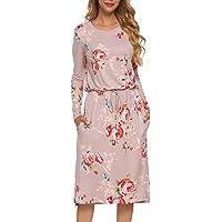 Simier Fariry Women's Floral Short Sleeve Casual Pockets Midi Dress