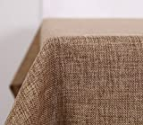 Deconovo Faux Linen Table Cloth Cover Waterproof Tablecloth for Party Table Large Size Solid Color 140x250CM Golden Brown