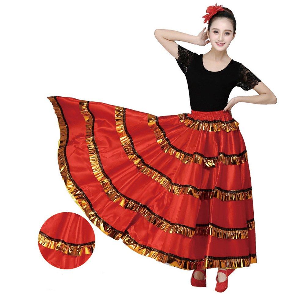 Amazon.com: Mujer Rojo Danza Del Vientre vestido de flamenco ...