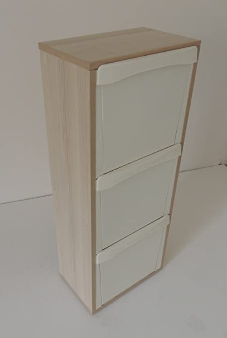 Mobile legno Raccolta differenziata 3 vani colore rovere sbiancato ...