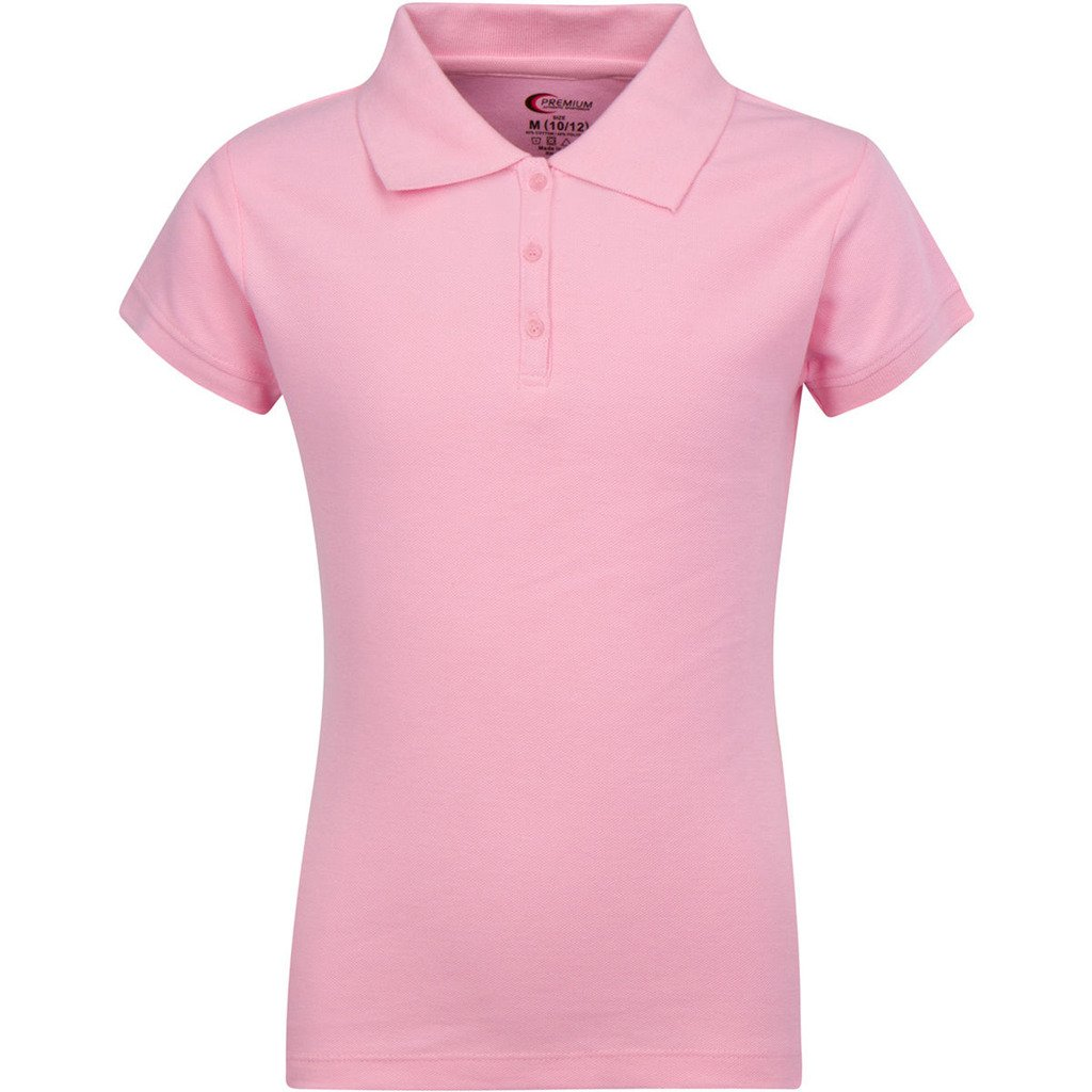 Premium Short Sleeves Girls Polo Shirts Pink M 10/12