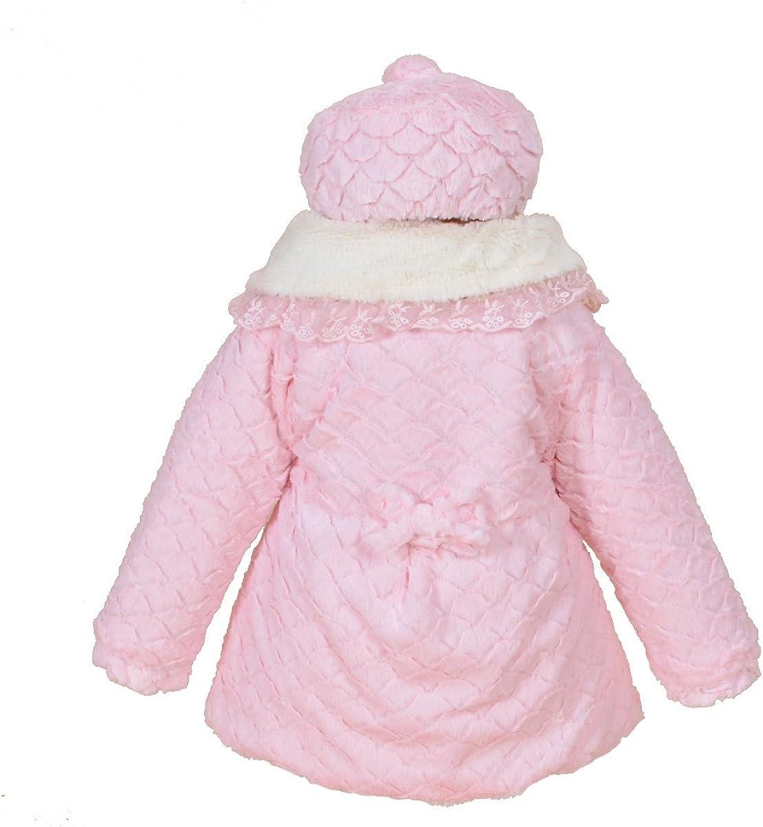 Cinda Filles Manches Longues Manteau Rose avec Chapeau
