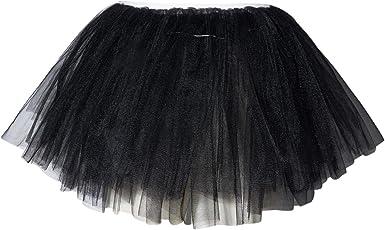 Belovecol Tutu Falda de Tul para Niña Negro 5 Capas LED Falda ...